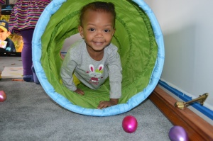 Aria playing in her tunnel!