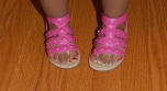 Pink gladiator shoes with painted toe design Dapper Daddy Julian did!