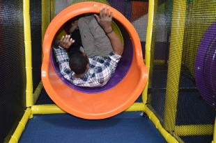 Dappy Daddy Mel got stuck in the slide! LOL