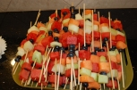 Guest munched on fruit kabobs while waiting for Altamese to arrive!